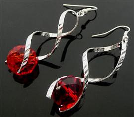 Oorbellen met glaskraal rood - S10401