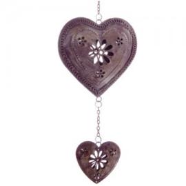 Hangend metalen hart in antiek-look, paars - D11929c