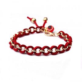 Armband goudkleur met rood koord - S11160