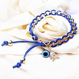 Armband goudkleur met blauw koord - S11163