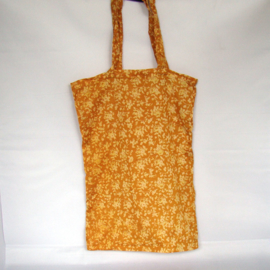 Vintage shopping bag silk sari okergeel - D11139e