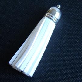 Kwastje imitatieleer 60 mm, creme - Z00349