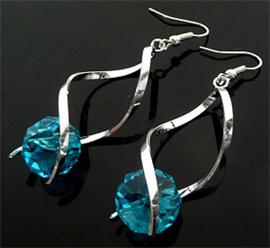 Oorbellen met glaskraal blauw - S10398