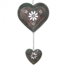 Hangend metalen hart in antiek-look, groen - D11929a