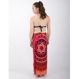 Sarong 43, oranje/zwart/wit/roze - D12984
