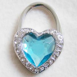 Tashaak hartvorm met strass lichtblauw - D10257