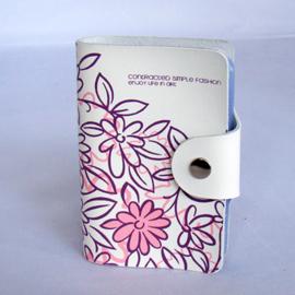 Visitekaartjes etui creme met roze bloemen - D11145