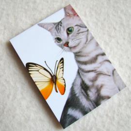 Notitieblokje poes met vlinder - D10614B