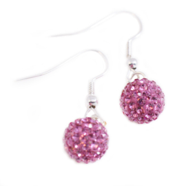 Shamballa oorbellen roze - S10764