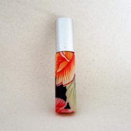 Parfumverstuiver met oranje, zwarte en roze bloemen - D11599c