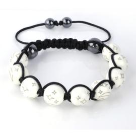 Shamballa armband wit met sterren - S10794
