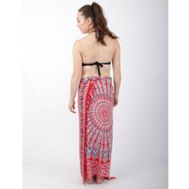 Sarong 34,  rood/wit/zwart/blauw - D12987