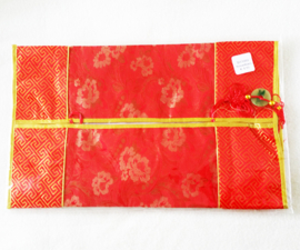 Tissuehoes rood met bloemen - D12523