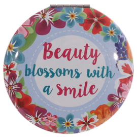 Make-up spiegel rond - Beauty blossoms with a smile - D12828a