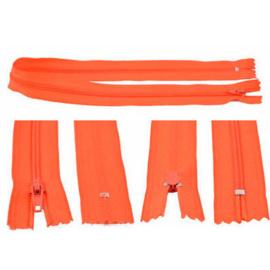 Rits 49 cm - oranje/rood - niet deelbaar - D12388