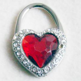 Tashaak hartvorm met strass rood - D10273