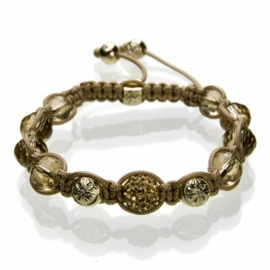 Shamballa armband bruin/goudkleur - S10774