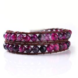 Lulu armband roze/paars - S10978