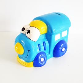 Spaarpot locomotief blauw - WD00079b