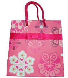 Tasje roze met bloemen - V10007