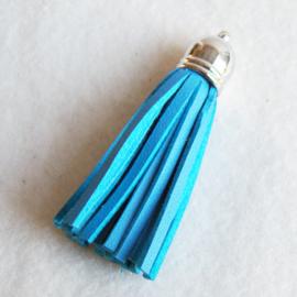 Kwastje imitatieleer 60 mm, blauw - Z00346