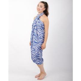 Sarong 33, zebraprint blauw/wit - D12981