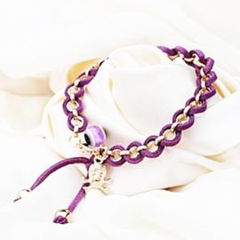 Armband goudkleur met paars koord - S11162