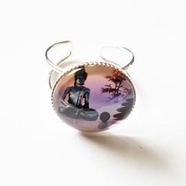 Verstelbare ring zittende boeddha lilaroze - TSH00167
