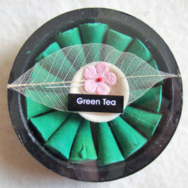 Wierookkegeltjes green tea met houder