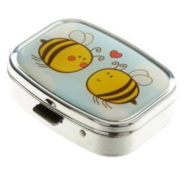 Pillendoosje rechthoek 2 bijen  - D13290