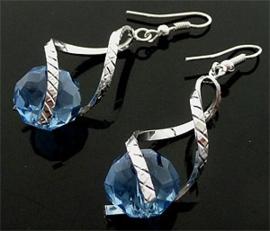 Oorbellen met glaskraal blauw - S10400