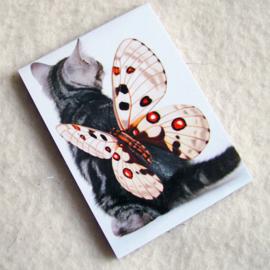 Notitieblokje poes met vlinder - D10614F