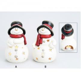 Windlicht sneeuwpop met zwarte hoed - WD00052
