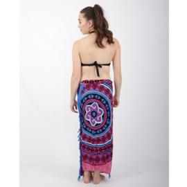 Sarong 40, roze/blauw/zwart/wit - D12988