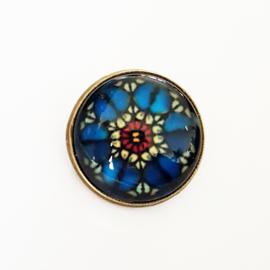 Broche bloem blauw, rood, wit (oudgoud) - TSH00002b