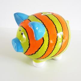 Spaarvarken oranje/lime/blauw gestreept - WD00077b