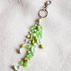 Sleutelhanger of tashanger groene kralen - D10454