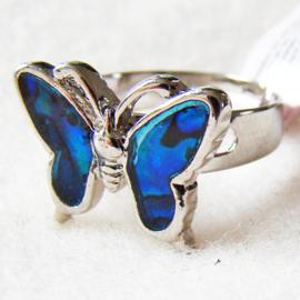 Paua shell ring vlinder, verstelbaar - S11010