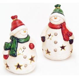 Windlicht sneeuwpop met gekleurde muts - WD00026