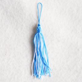 Kwastje blauw/wit - Z00095