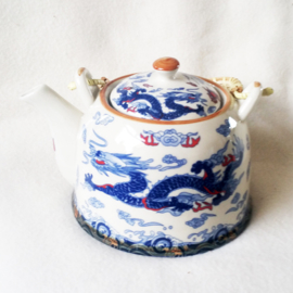 Chinese Theepot wit met blauwe draak - D12491