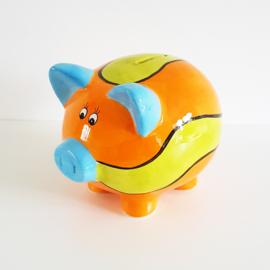 Spaarvarken oranje/lime/blauw - WD00077a