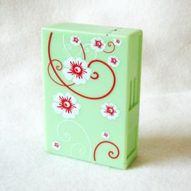 Sigarettendoosje dispenser box groen, witte en rode bloemen - D11785