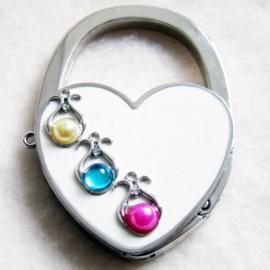 Tashaak hartvorm met steentjes wit - D10243