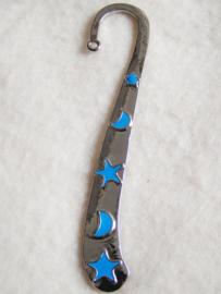 Boekenlegger ster/maan (blauw) - D10237
