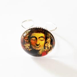 Verstelbare ring boeddha bruintinten - TSH00169