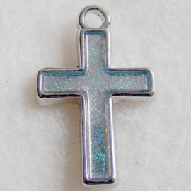 Bedel kruis, zilvergrijze epoxy - S10471