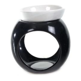 Olieverdamper rond, zwart met wit bakje - O10430b