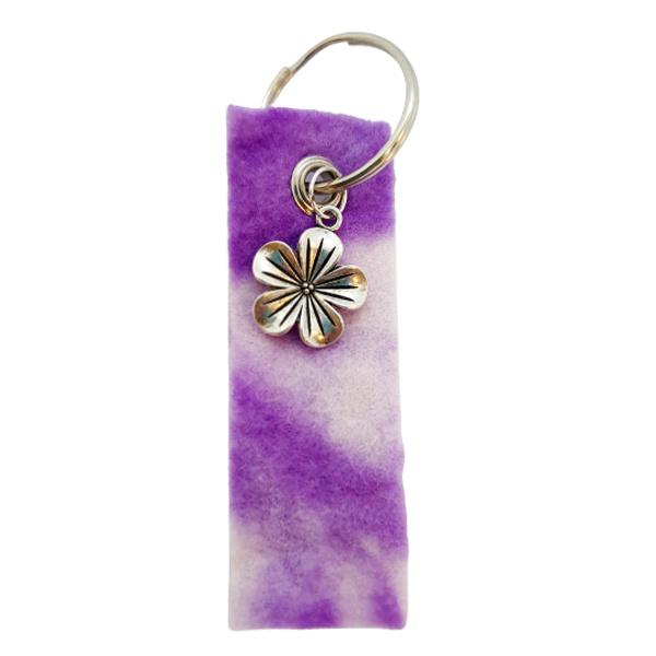 Sleutelhanger paars-wit met bloem