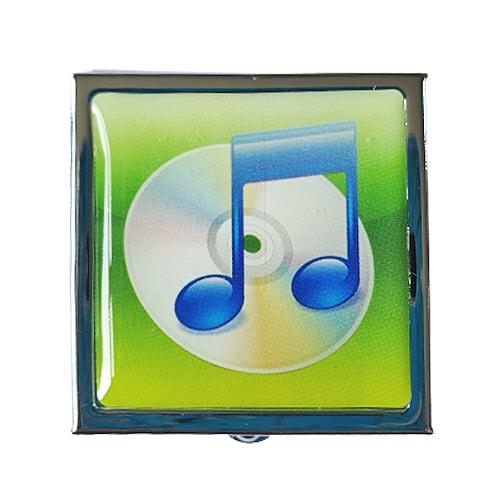 Pillendoosje muzieknoot groen - D14639